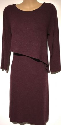 ASOS DIAGONAL FLAP FRONT BURGUNDY NURSING DRESS SIZE UK 8